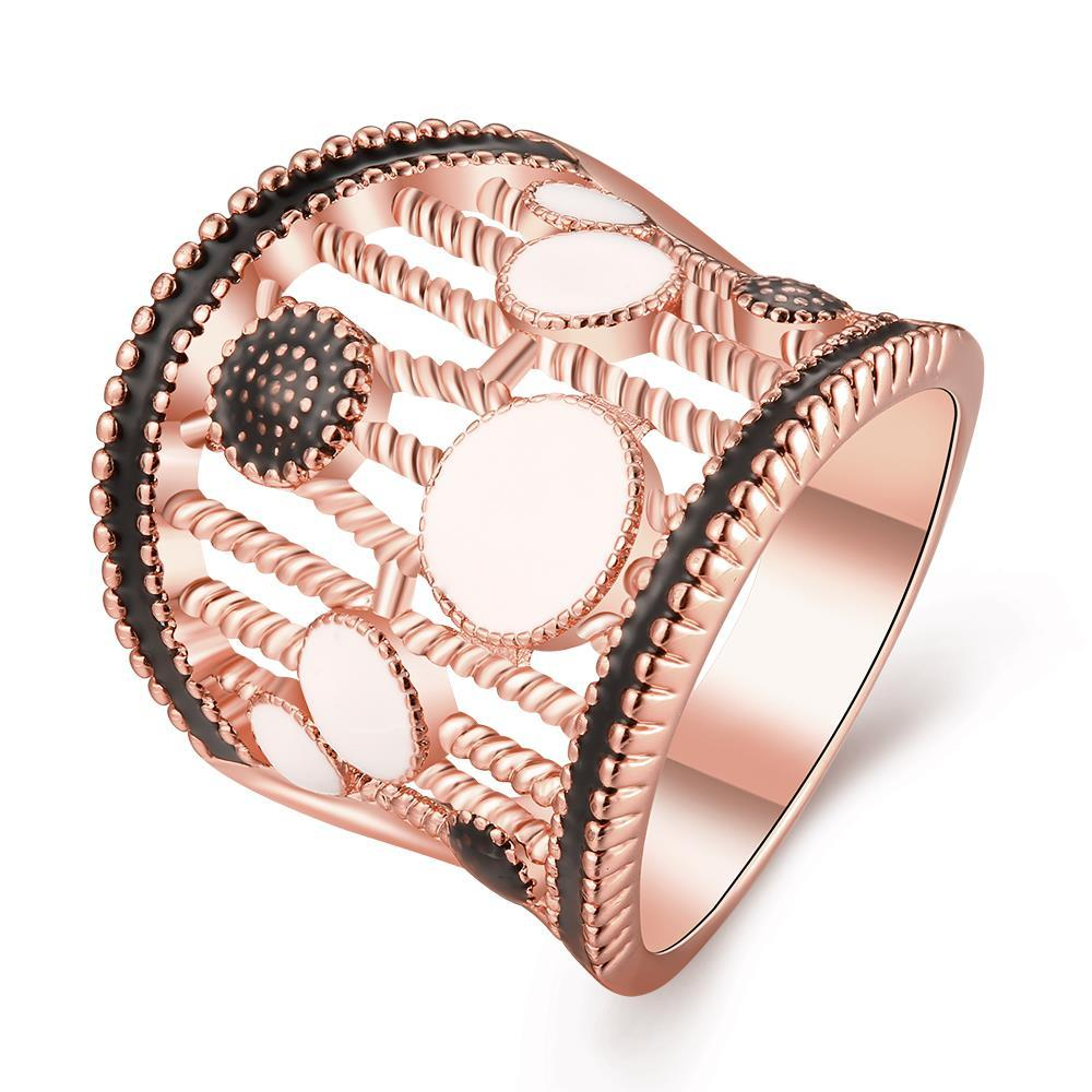 Vienna Jewelry Rose Gold Plated Laser Cut Crown Ring Size 7