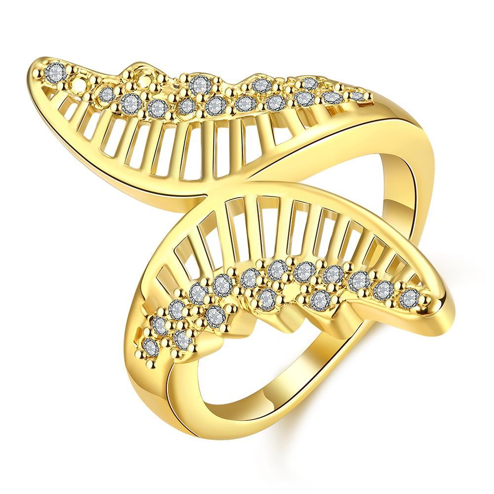 Vienna Jewelry Gold Plated Hollow Butterfly Ring
