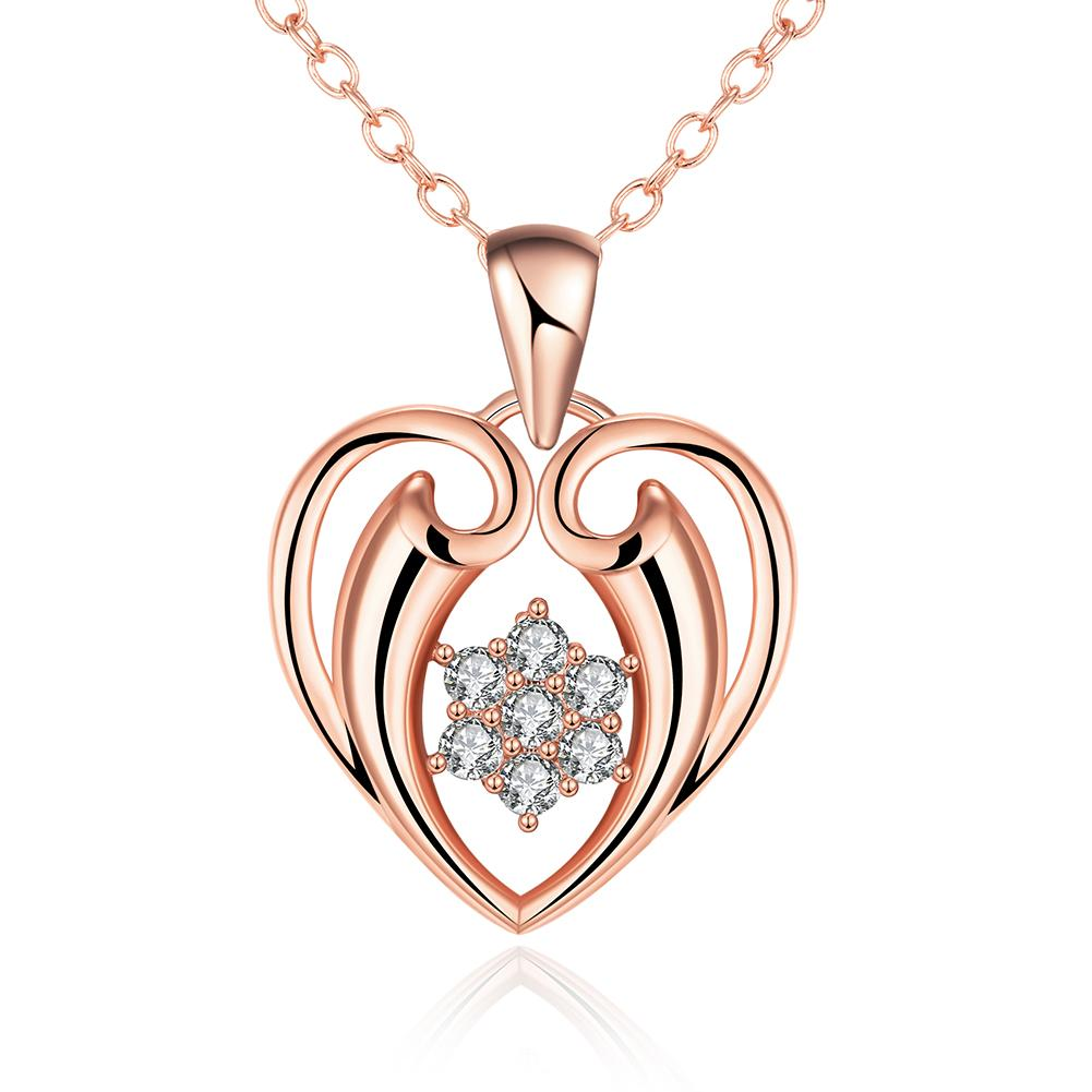 Vienna Jewelry Rose Gold Plated Hollow Valentines Necklace