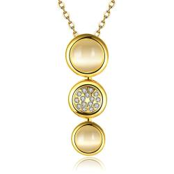 Vienna Jewelry Gold Plated Trio Circular Emblem Dangling Necklace - Thumbnail 0