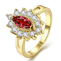 Vienna Jewelry Gold Plated Floral Ruby Red Gem Ring - Thumbnail 0