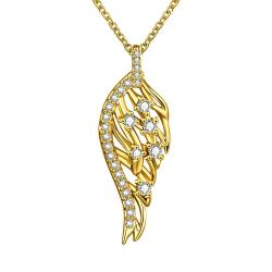 Vienna Jewelry Gold Plated Abstract Emblem Necklace - Thumbnail 0