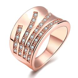 Vienna Jewelry Rose Gold Plated Five Jewels Line Ring - Thumbnail 0