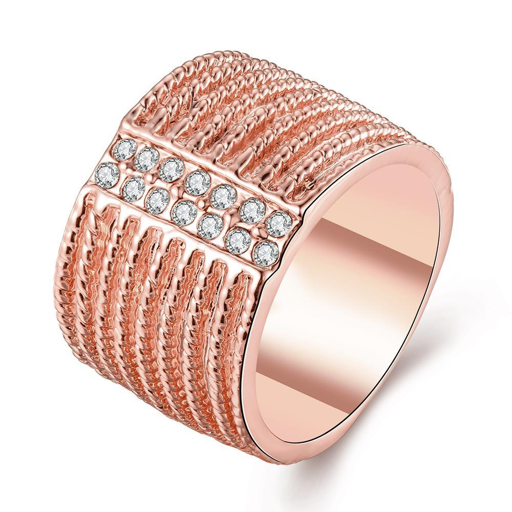 Vienna Jewelry Rose Gold Plated Classical New York Band Ring Size 8