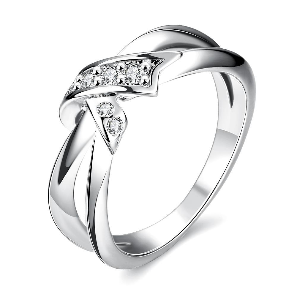 Vienna Jewelry White Gold Plated Bow-Tie Ring