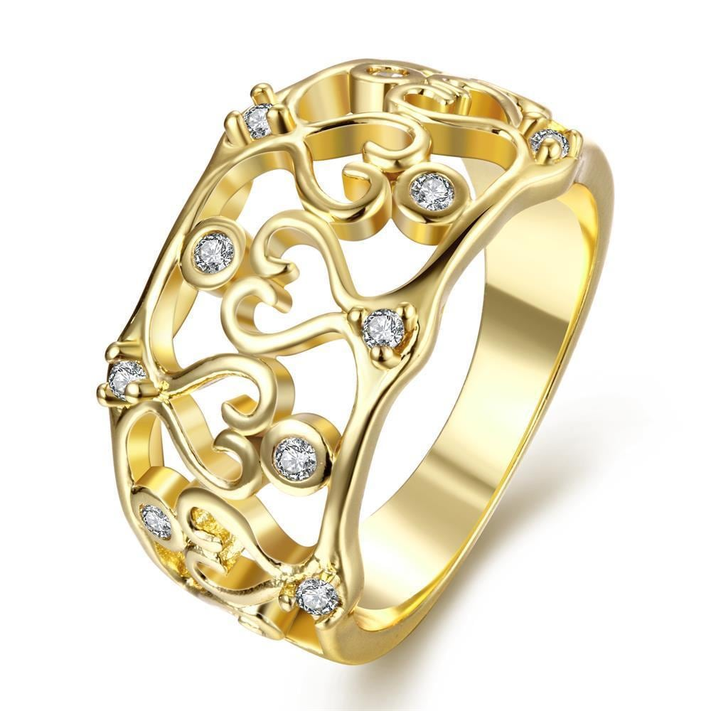Vienna Jewelry Gold Plated Onyx Inspired Laser Cut Ring