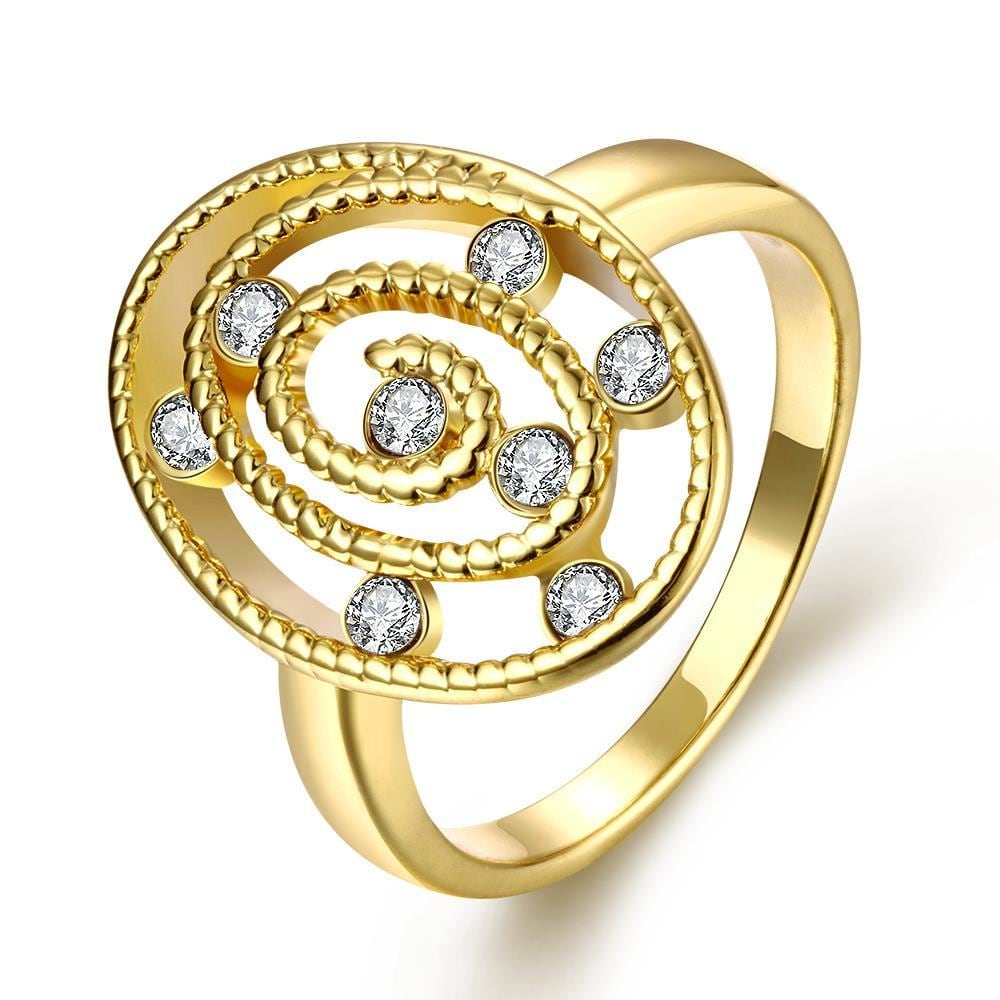 Vienna Jewelry Gold Plated Circular Crystal Ring