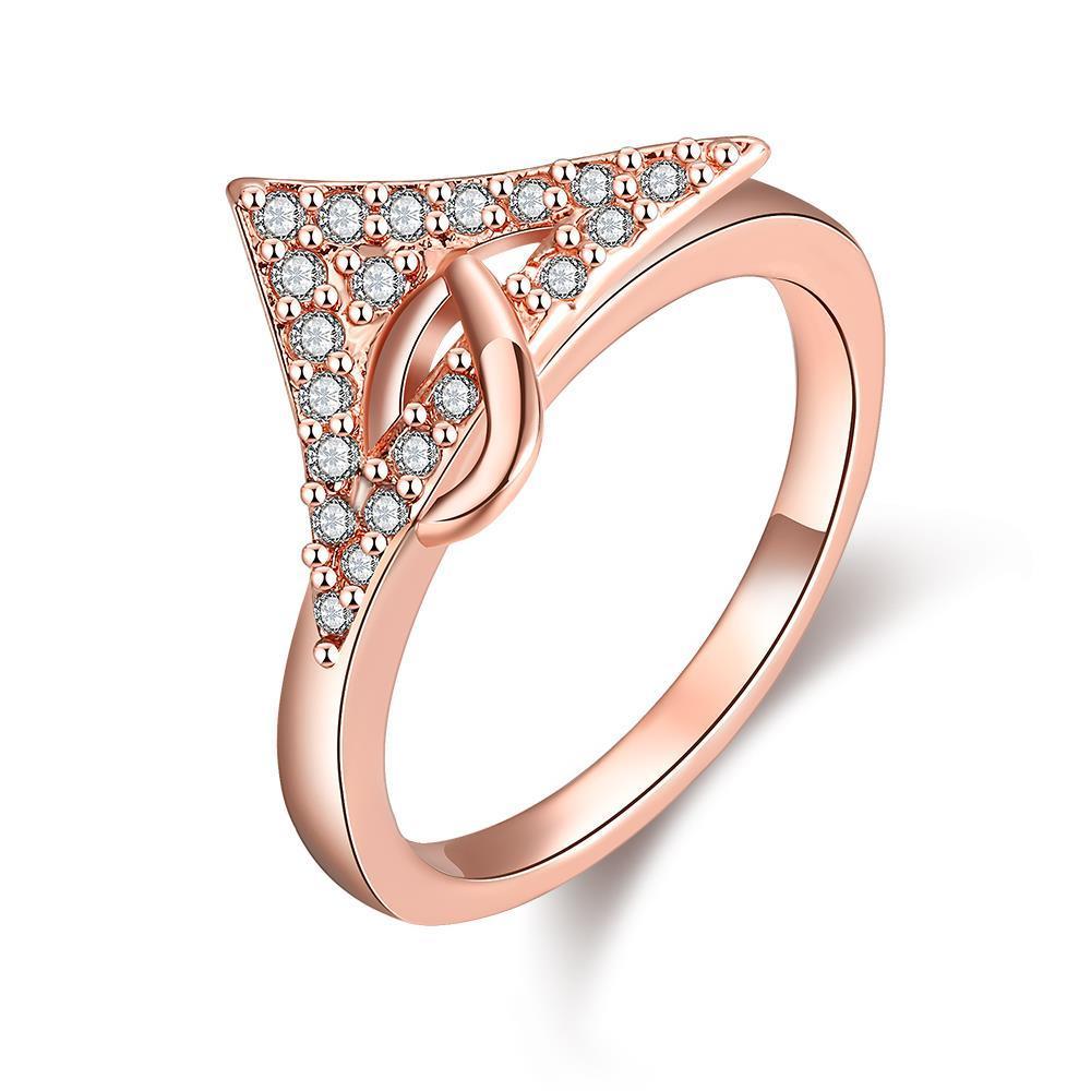 Vienna Jewelry Rose Gold Plated Triangular Cut Ring
