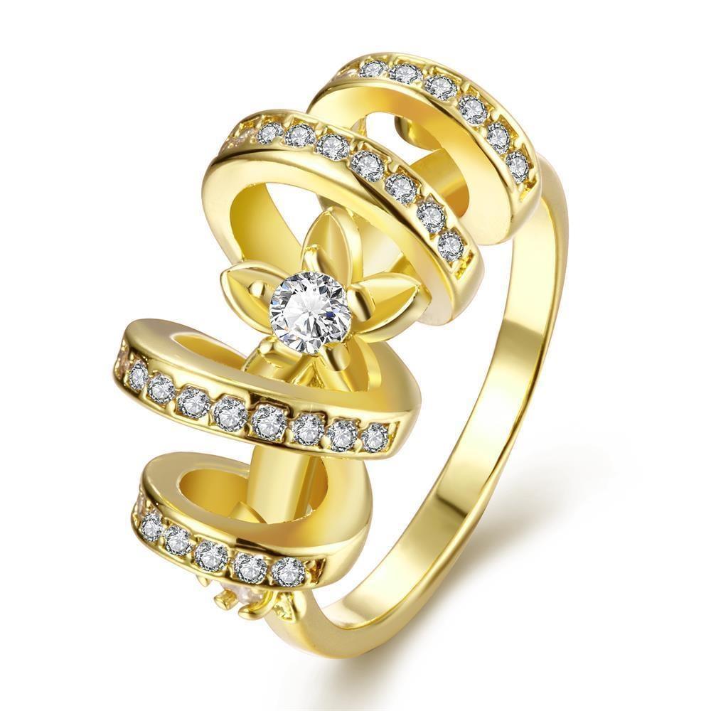 Vienna Jewelry Gold Plated Swirl Loop Design Ring