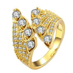 Vienna Jewelry Gold Plated Quad-Jewels Open Ended Ring - Thumbnail 0
