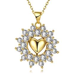 Vienna Jewelry Gold Plated Petite Heart Snowflake Necklace - Thumbnail 0