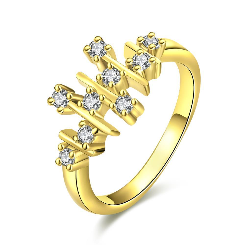 Vienna Jewelry Gold Plated Horizontal Lined Ring