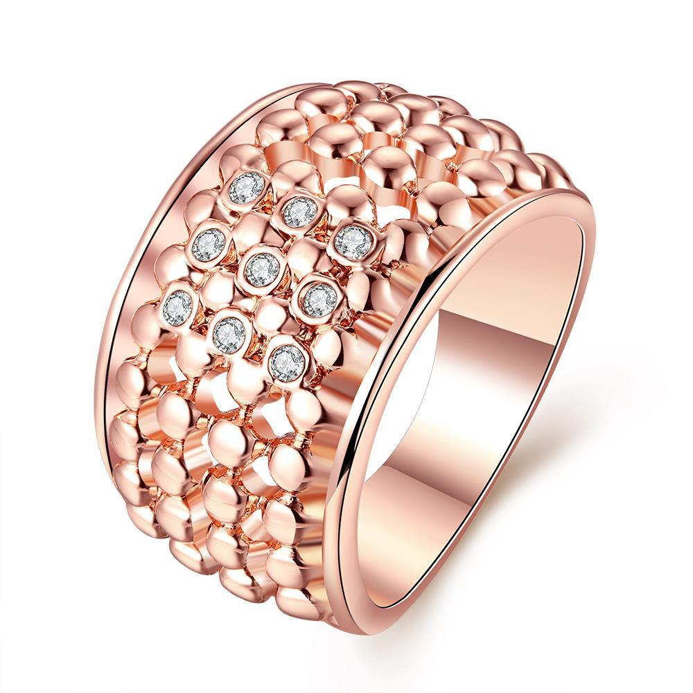 Vienna Jewelry Rose Gold Plated Multi Beaded Lining with Jewels Crystals Ring Size 8