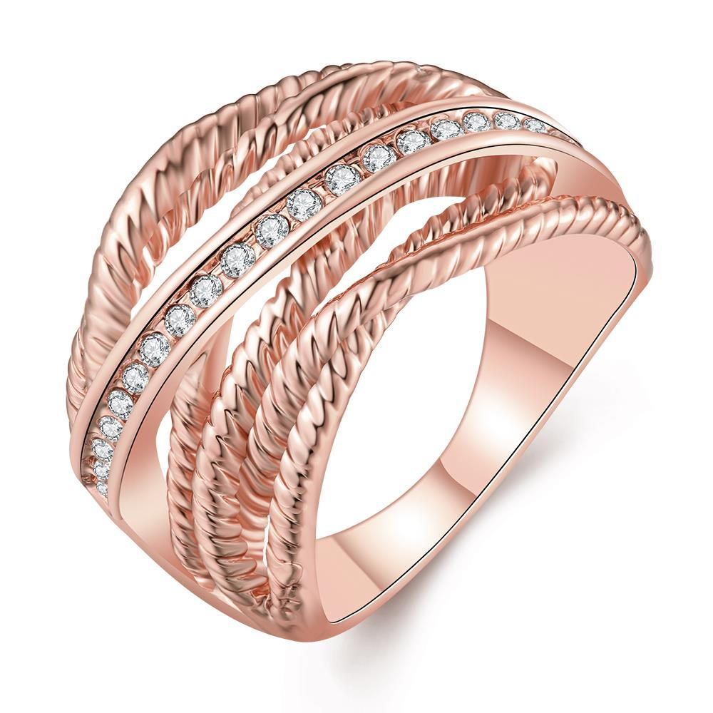 Vienna Jewelry Rose Gold Plated Twisted Lining with Silver Lining Ring Size 8