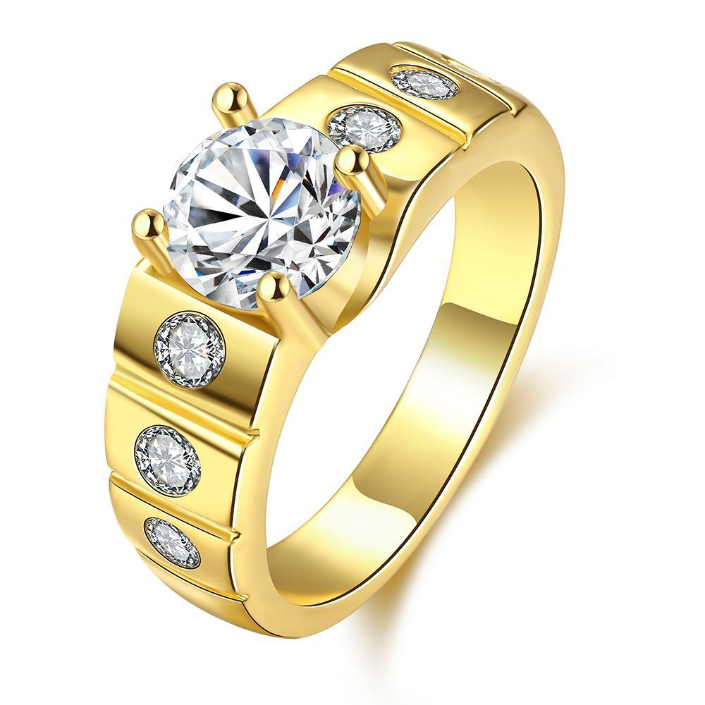 Vienna Jewelry Gold Plated Crystal Ring with Diamond Accents
