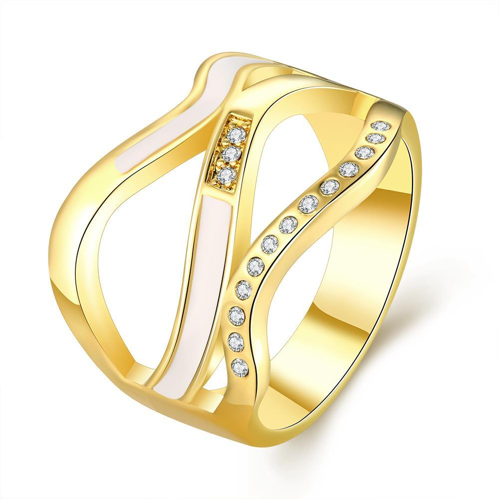 Vienna Jewelry Gold Plated Angular Lined Ring Size 7