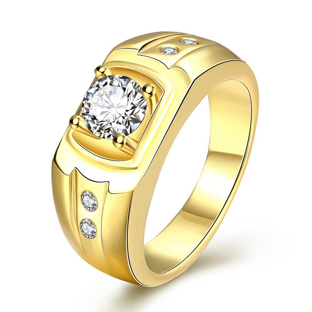 Vienna Jewelry Gold Plated Wedding Band with Jewel Insert