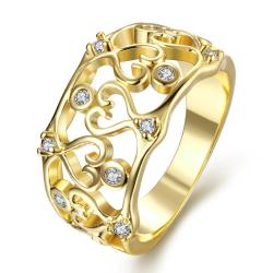 Vienna Jewelry Gold Plated Onyx Inspired Laser Cut Ring - Thumbnail 0