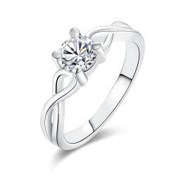 Vienna Jewelry Gold Plate Petite Crystal Jewel Ring - Thumbnail 0