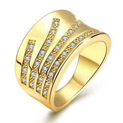 Vienna Jewelry Gold Plated Five Jewels Line Ring - Thumbnail 0