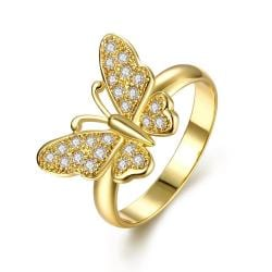 Vienna Jewelry Gold Plated Flying Butterfly Ring - Thumbnail 0