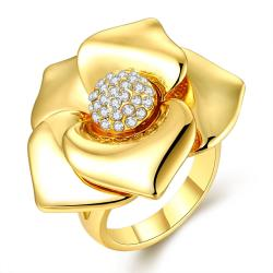 Vienna Jewelry Gold Plated Blossoming Floral Petal Ring Size 8 - Thumbnail 0
