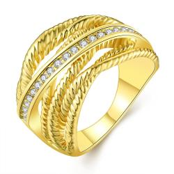 Vienna Jewelry Gold Plated Twisted Lining with Silver Lining Ring Size 8 - Thumbnail 0