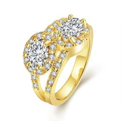 Vienna Jewelry Gold Plated Duo- Crystal Jewel Ring - Thumbnail 0