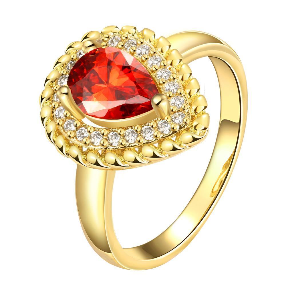 Vienna Jewelry Gold Plated Center Ruby Split Shank Ring