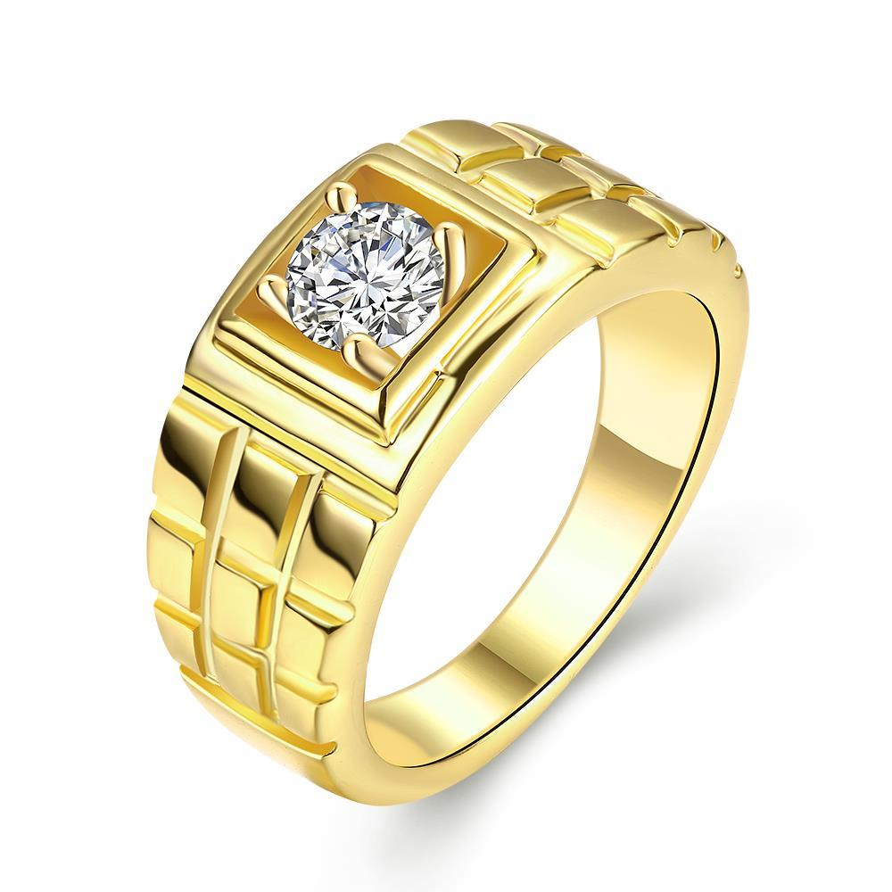Vienna Jewelry Gold Plated Brick Layered Design Ring