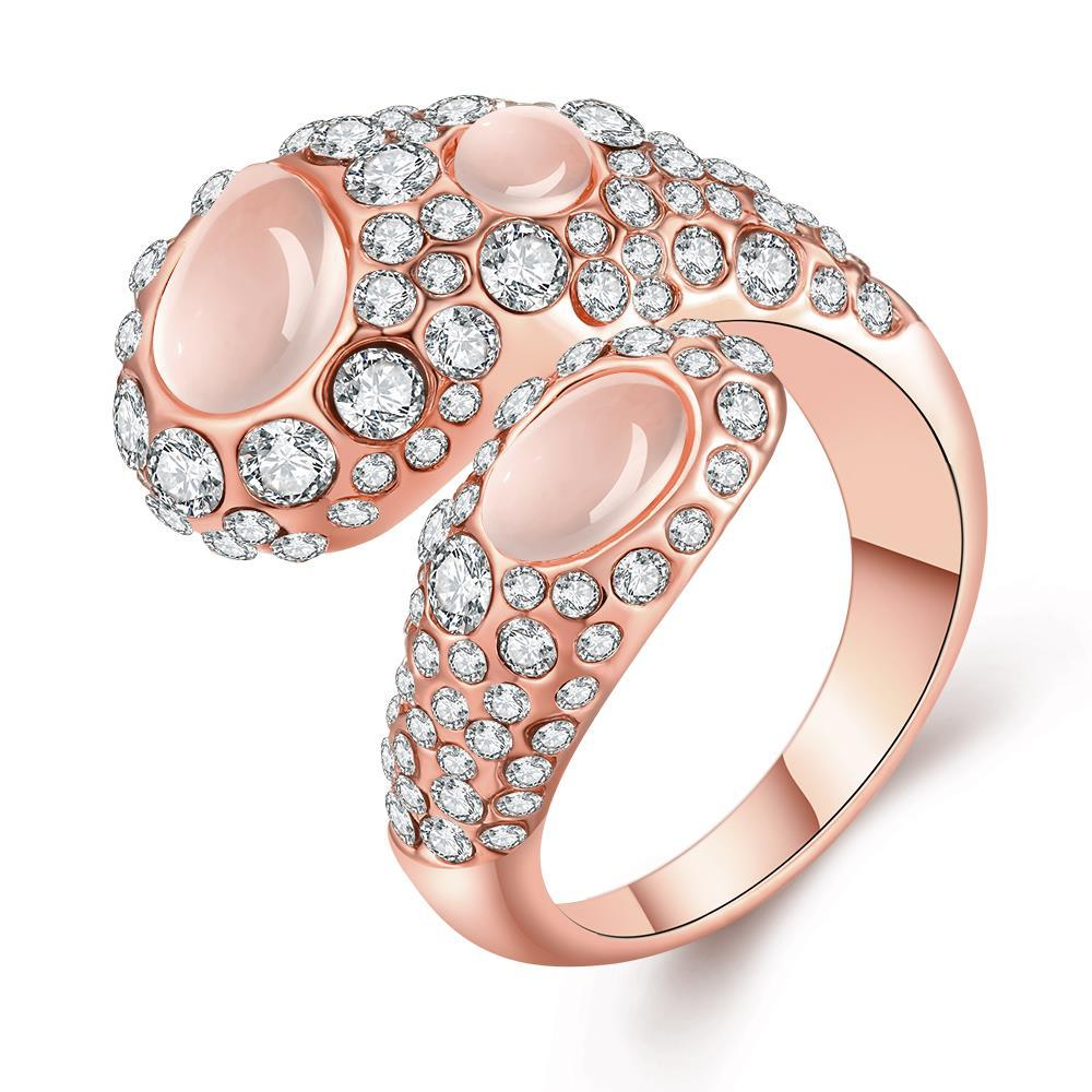 Vienna Jewelry Rose Gold Plated Open Clasp Abstract Crystal Ring Size 7