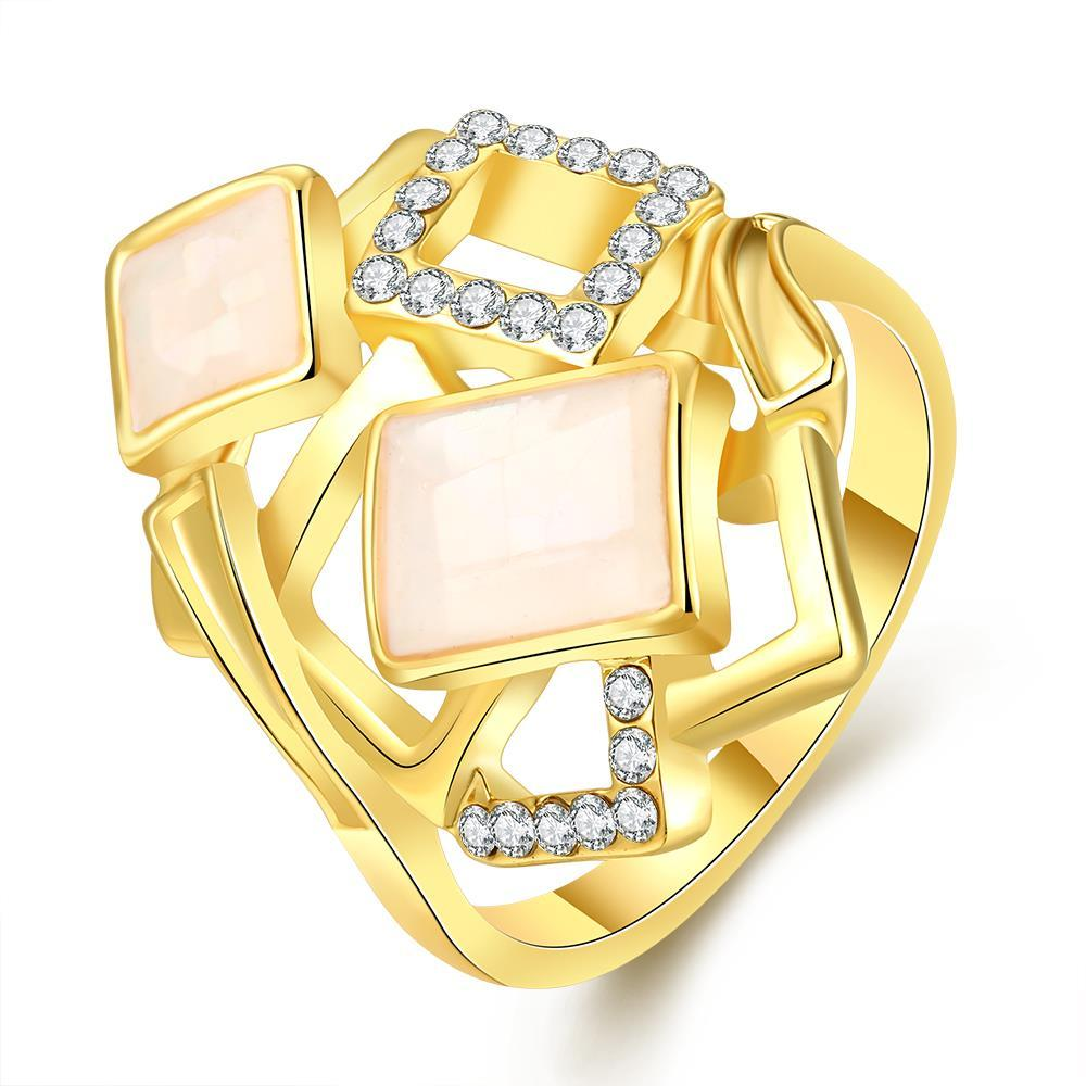 Vienna Jewelry Gold Plated Square Inline Ivory Onyx Ring Size 7