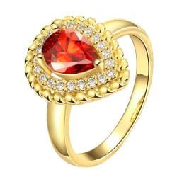 Vienna Jewelry Gold Plated Center Ruby Split Shank Ring - Thumbnail 0