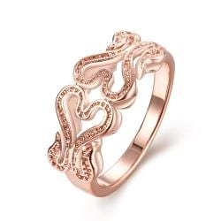 Vienna Jewelry Gold Plated Double Hollow Love Ring - Thumbnail 0