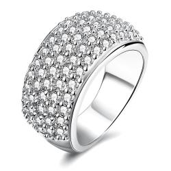 Vienna Jewelry White Gold Plated Classical Pave' Ring - Thumbnail 0