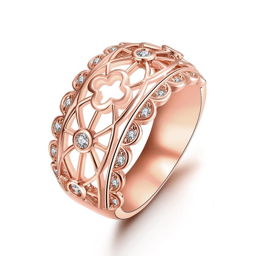 Vienna Jewelry Gold Plated Laser Cut Matrix Design Ring