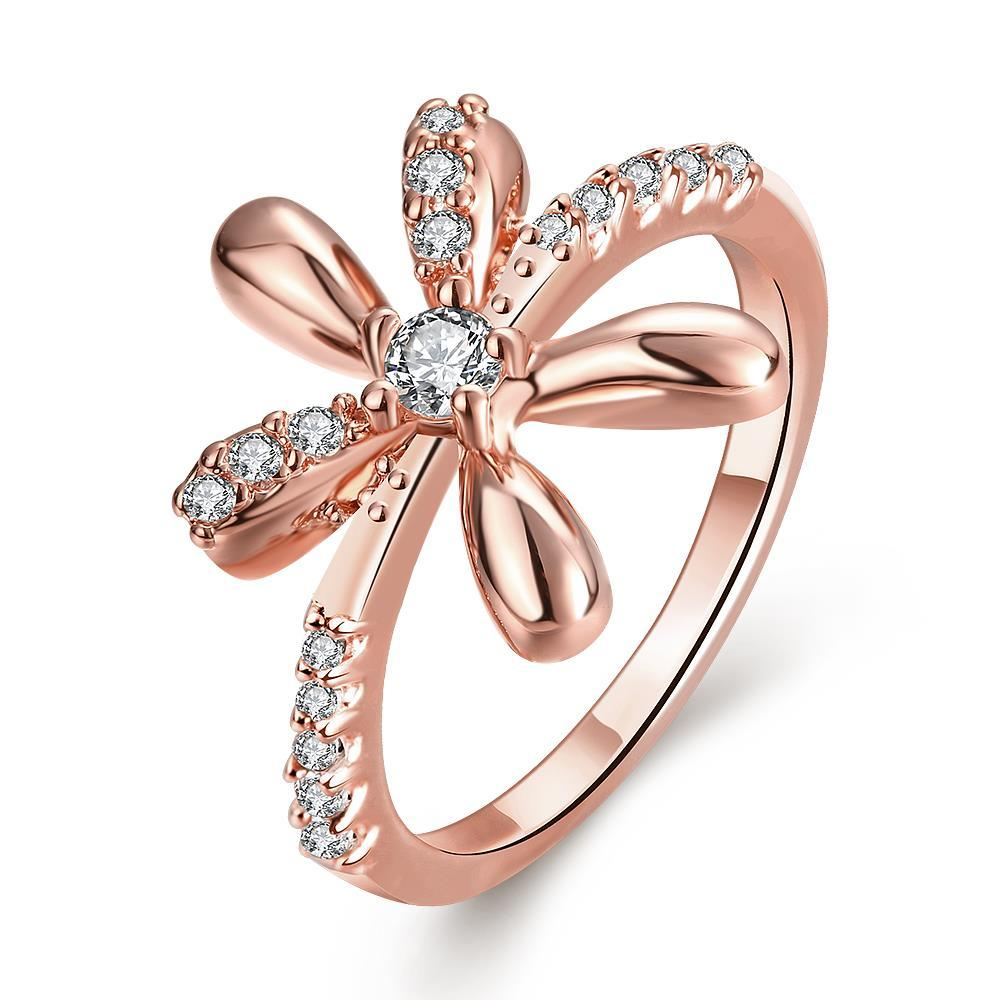 Vienna Jewelry Gold Plated Orchid Floral Inspired Ring