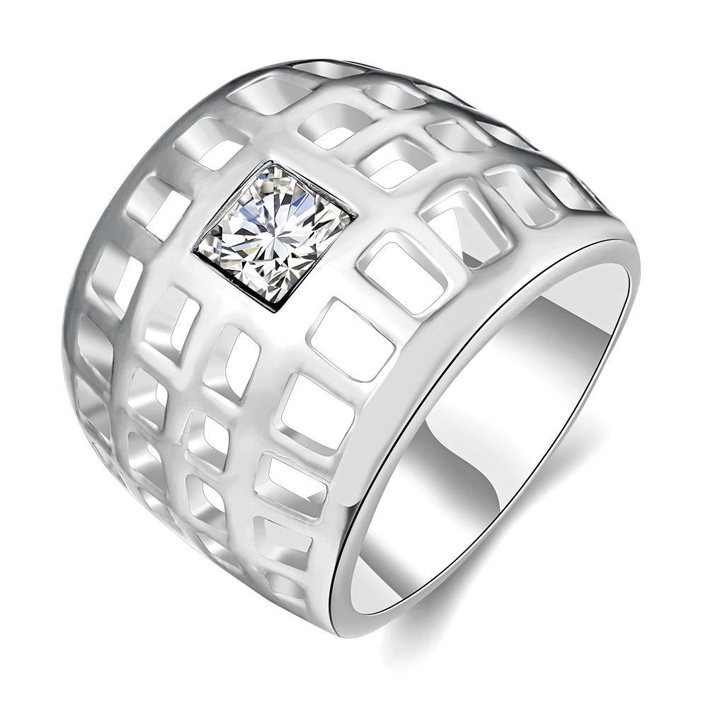 Vienna Jewelry White Gold Plated Laser Cut Grid Geo Ring Size 7