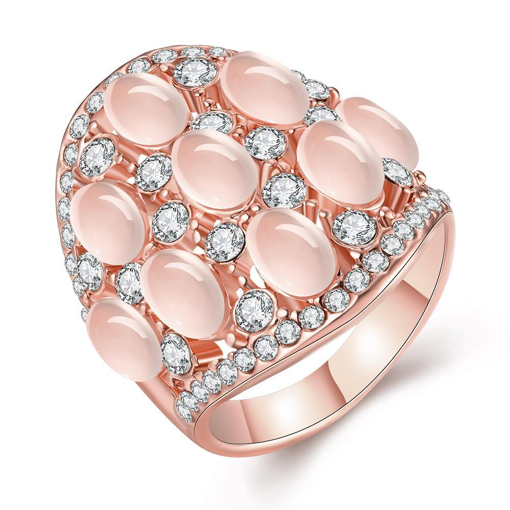 Vienna Jewelry Rose Gold Plated Multi Pearl & Jewels Covering Ring Size 8