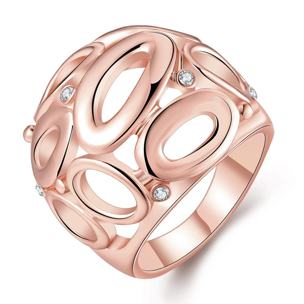 Vienna Jewelry Rose Gold Plated Laser Cut Circular Hollow Ring Size 8