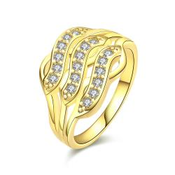 Vienna Jewelry Gold Plated Trio- Horizontal Ring - Thumbnail 0