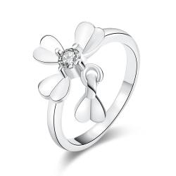 Vienna Jewelry White Gold Plated Petite Clover Ring - Thumbnail 0