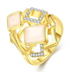 Vienna Jewelry Gold Plated Square Inline Ivory Onyx Ring Size 7 - Thumbnail 0