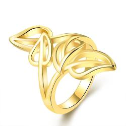 Vienna Jewelry Gold Plated Multi-Leaf Branch Design Ring Size 7 - Thumbnail 0