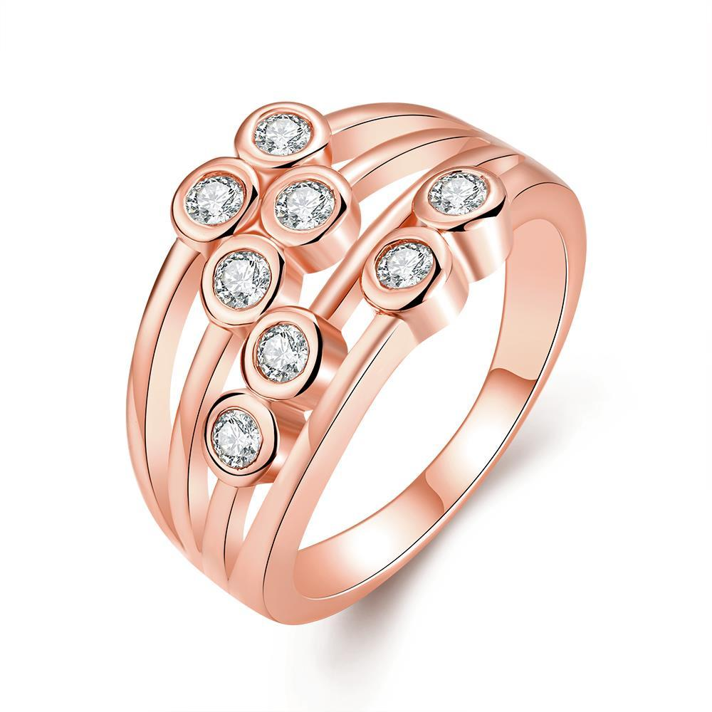 Vienna Jewelry Rose Gold Plated Eight Crystal Jewels Line Ring