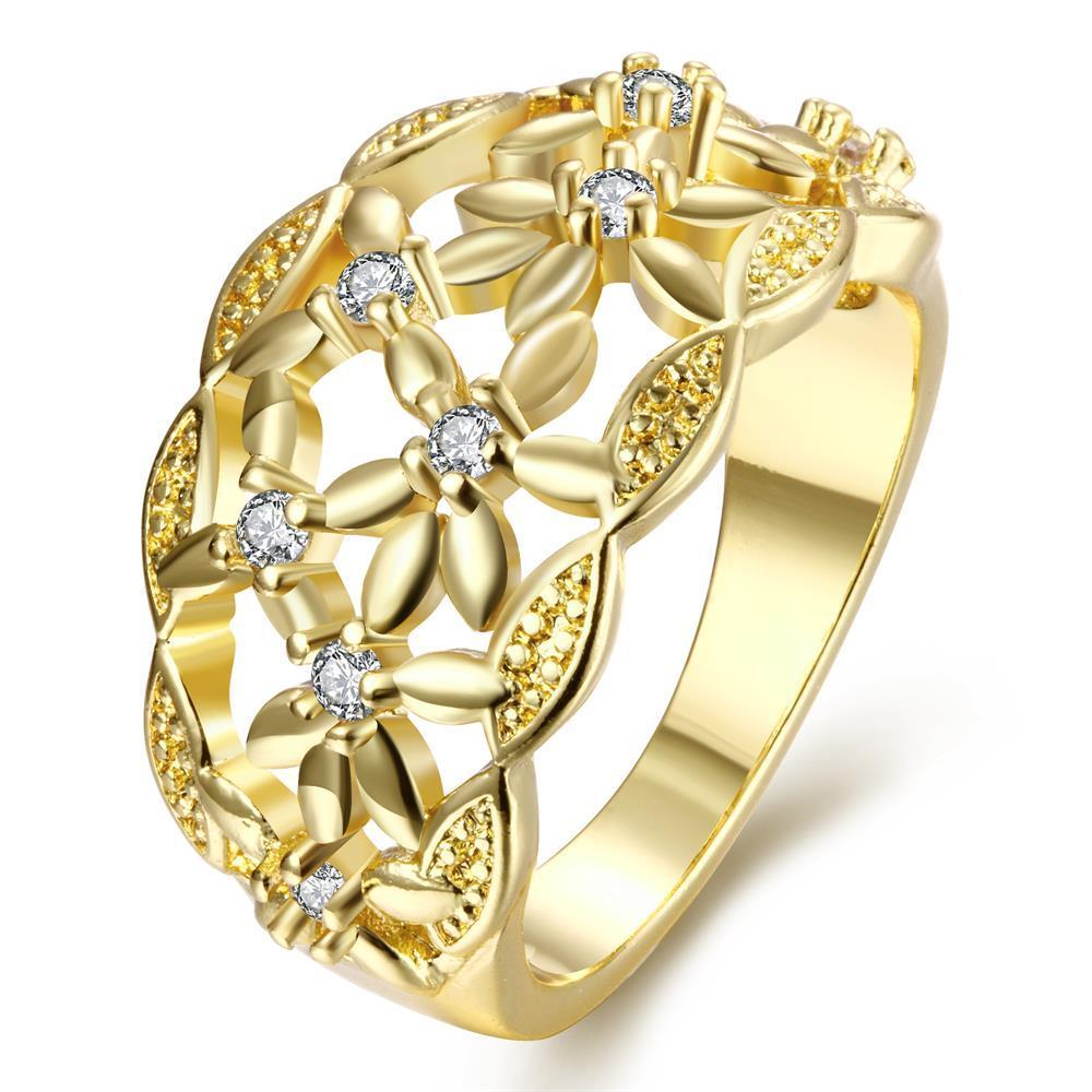 Vienna Jewelry Gold Plated Floral Laser Cut Ring