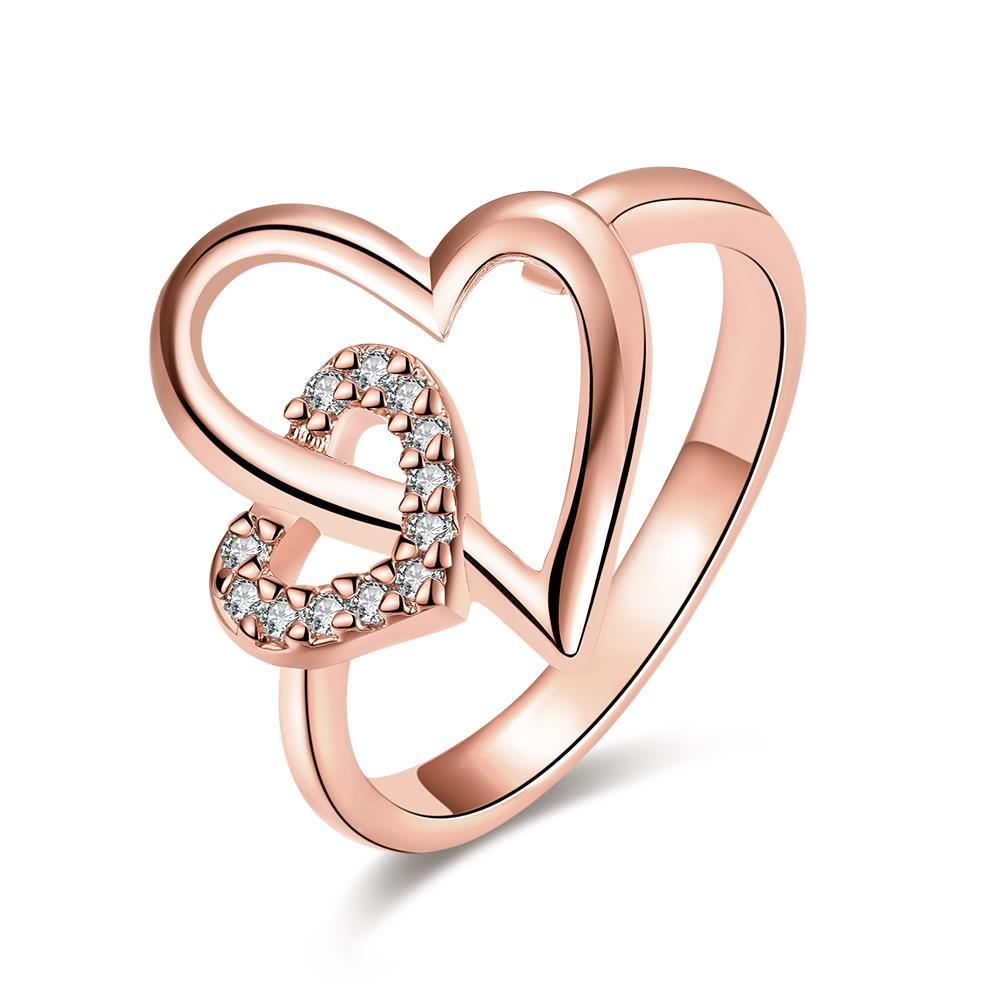 Vienna Jewelry Rose Gold Plated Hollow Double Hearts Ring