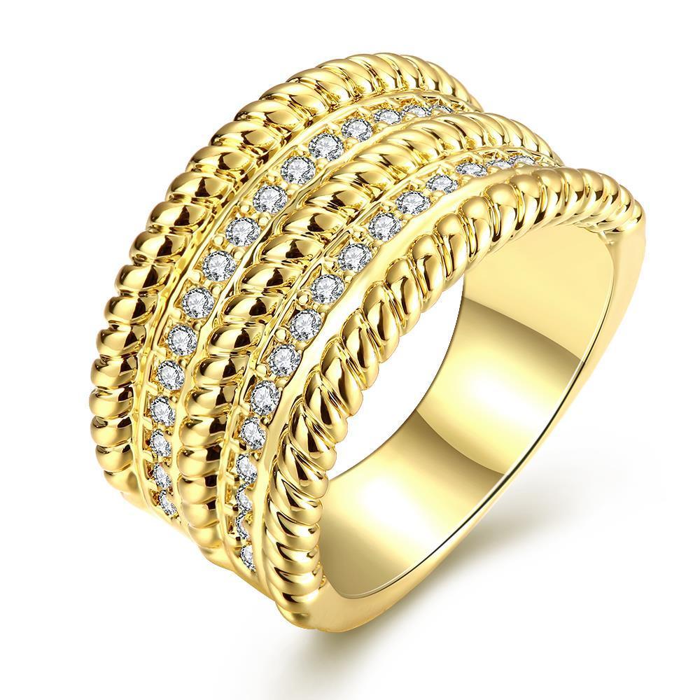 Vienna Jewelry Gold Plated Trio- Layered Ring