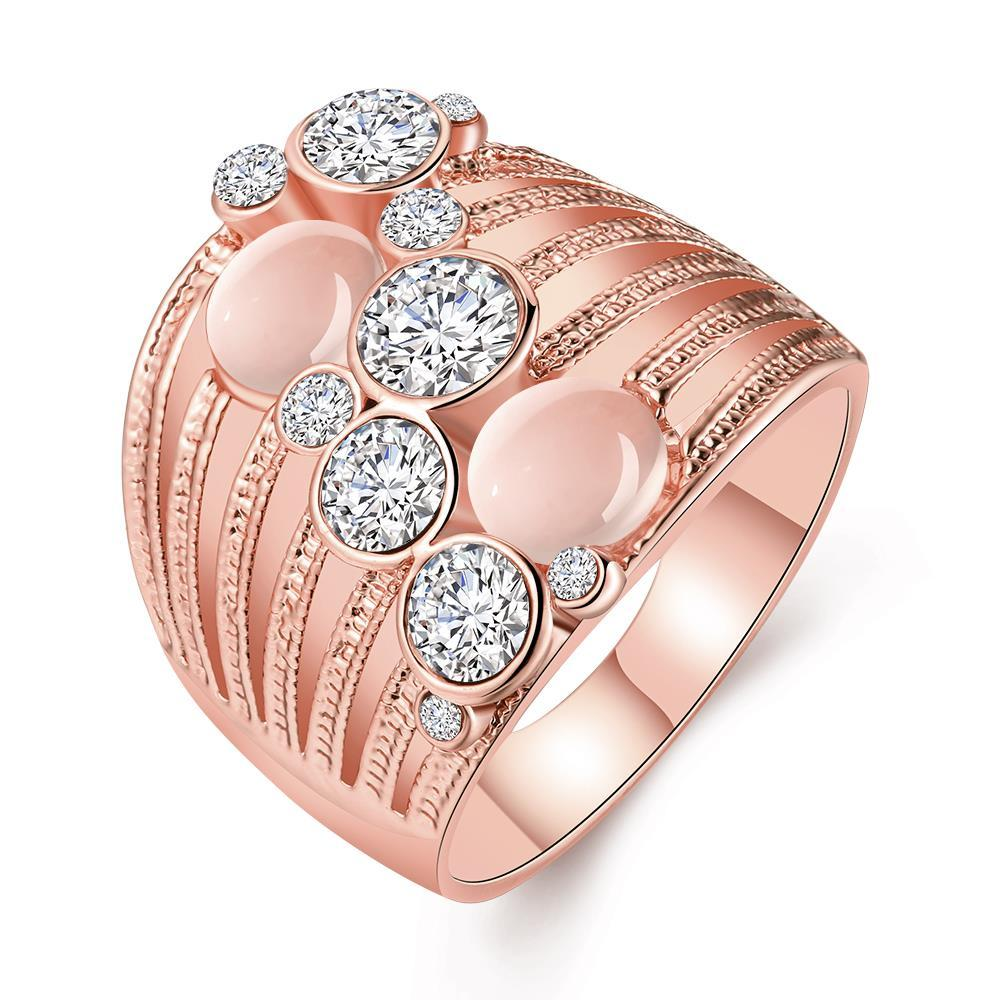 Vienna Jewelry Rose Gold Plated Crystal Ball Lining Covering Ring Size 8