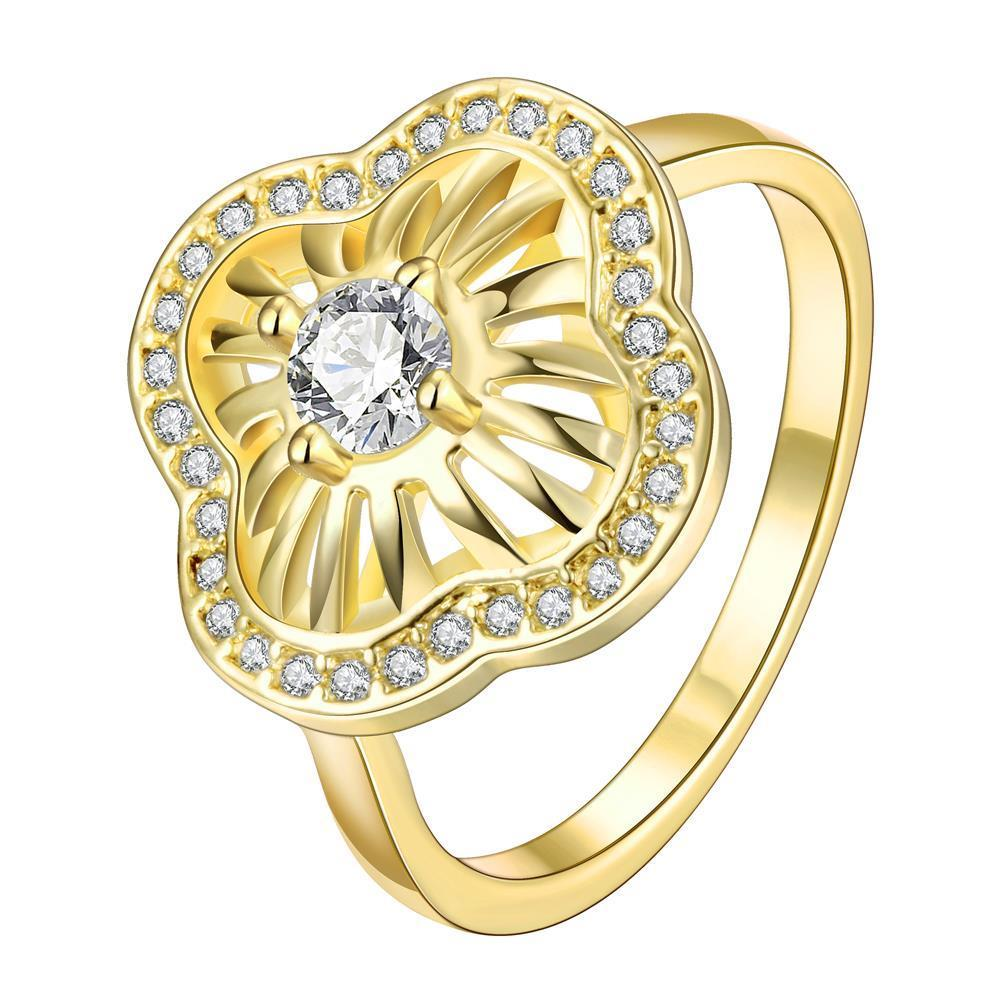 Vienna Jewelry Gold Plated Crystal Swirl Ring